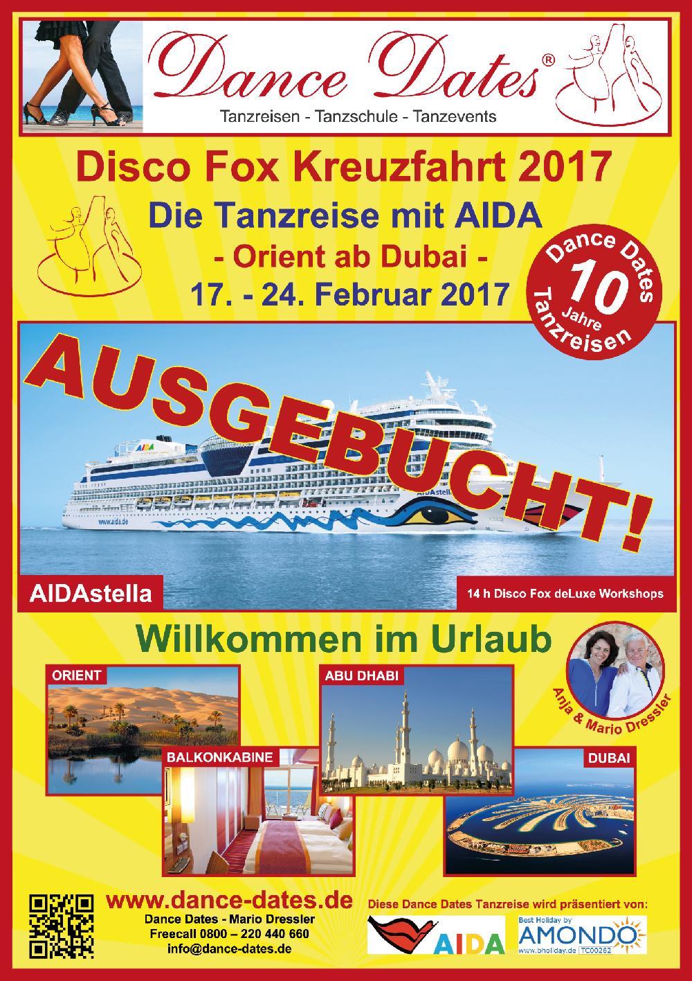 Disco Fox Tanzreise 2017 mit der Aida Stella in den Orient