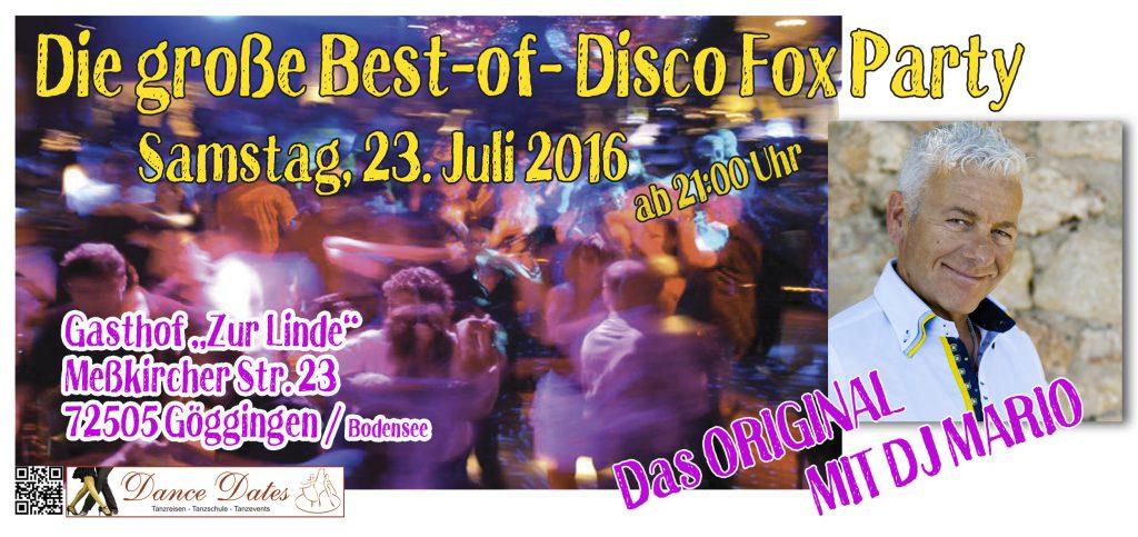 Best of Disco Fox Party – Das Original @ Gasthof zur Linde   Krauchenwies   Baden-Württemberg   Deutschland