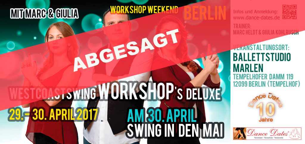 "West Coast Swing Workshop Weekend in Berlin <span style=""font-size: 8px;"">abgesagt</span> @ Ballettstudio Marlen 