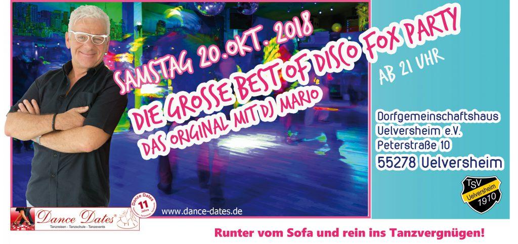 Best of Disco Fox Party – Das Orginal mit DJ Mario Uelversheim @ Dorfgemeinschaftshaus Uelversheim | Uelversheim | Rheinland-Pfalz | Deutschland