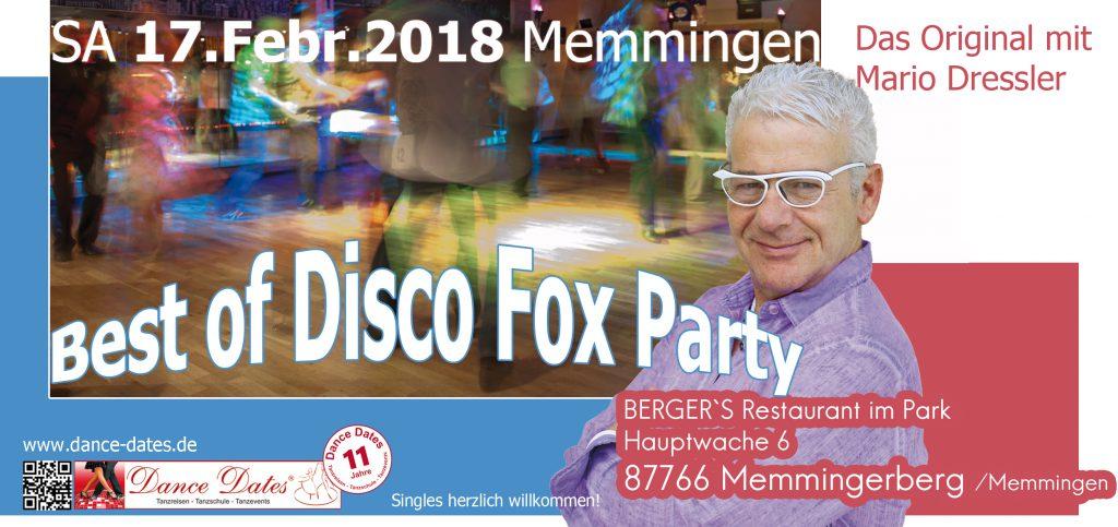 Die grosse Best of Disco Fox Party – Das Original @ BERGER`S Restaurant im Park | Memmingerberg | Bayern | Deutschland