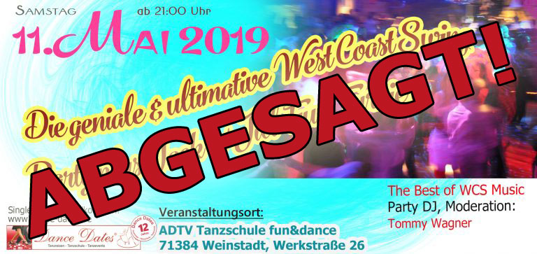 "WCS Party & Jack ´n´ Jill Fun Turnier in Weinstadt <span style=""font-size: 8px;"">ABGESAGT</span> @ ADTV Tanzschule fun&dance | Weinstadt | Baden-Württemberg | Deutschland"