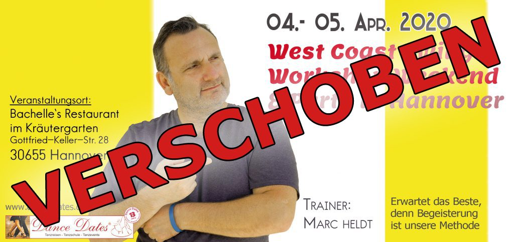 "<span style=""color: red;"">VERSCHOBEN!</span> West Coast Swing Workshop & Party Weekend / Hannover @ Bachelle´s Restaurant im Kräutergarten"