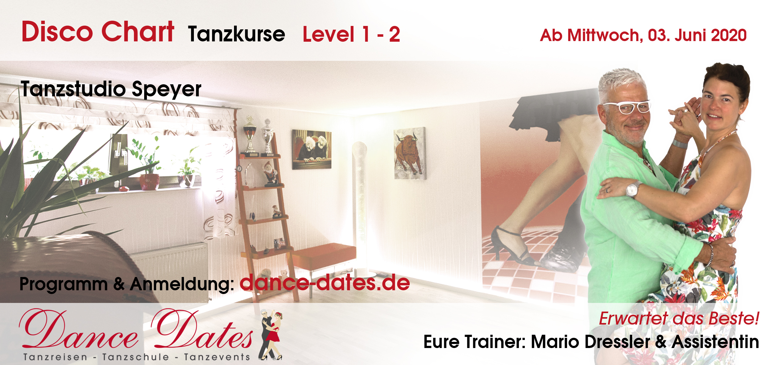 """<span style=""""color: red;"""">NEUER START:</span> Disco Chart Tanzkurse in Speyer"""