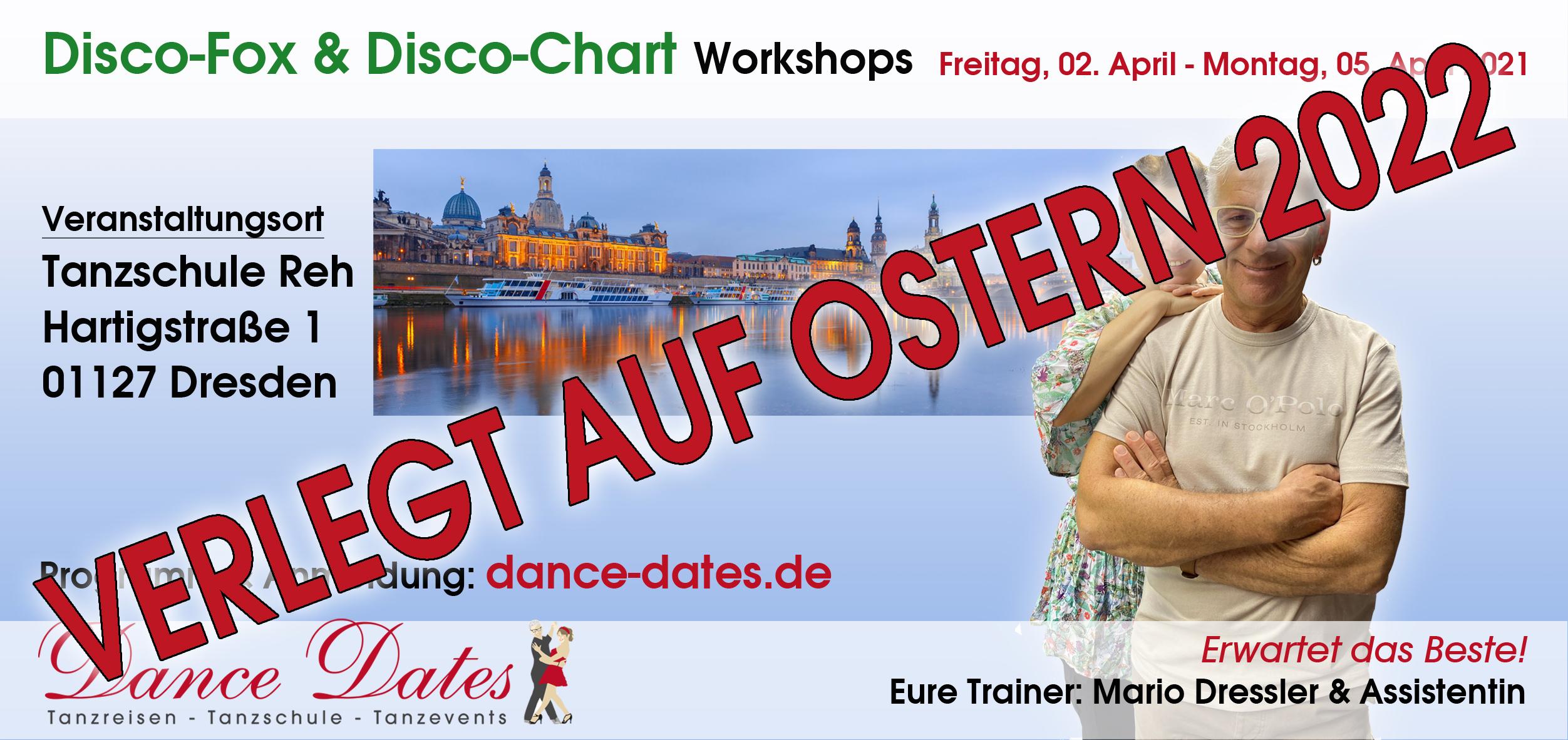 "<span style=""color: blue;"">VERLEGT</span> Dresdener Tanz-Tage - Disco-Fox & Disco-Chart Workshops @ Tanzschule Reh"